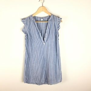Striped chambray dress with ruffle sleeves